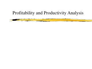Profitability and Productivity Analysis