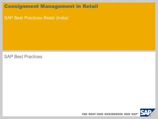 Consignment Management in Retail SAP Best Practices Retail (India)