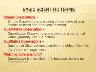 Basic Scientific Terms