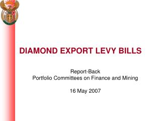 DIAMOND EXPORT LEVY BILLS