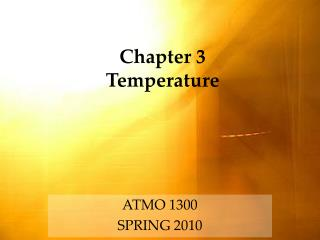 Chapter 3 Temperature