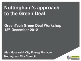 Nottingham's approach to the Green Deal
