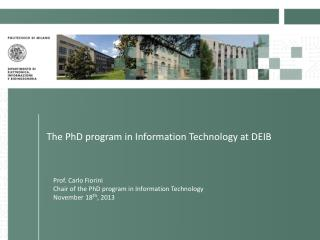 The PhD program in Information Technology at DEIB