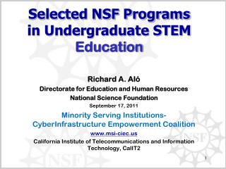 Selected NSF Programs in Undergraduate STEM Education