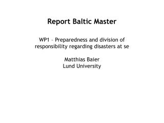 Report Baltic Master