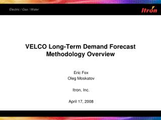VELCO Long-Term Demand Forecast Methodology Overview