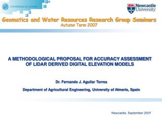 Geomatics and Water Resources Research Group Seminars Autumn Term 2007