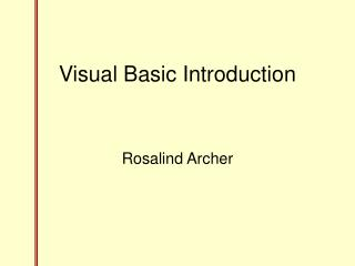 Visual Basic Introduction