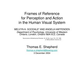 Frames of Reference  for Perception and Action  in the Human Visual System