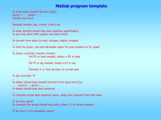 Matlab program template