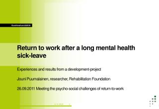 Return to work after a long mental health sick-leave