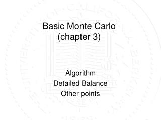 Basic Monte Carlo (chapter 3)