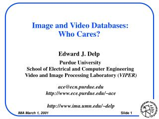 Image and Video Databases:  Who Cares?