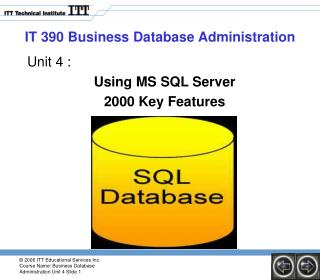 IT 390 Business Database Administration