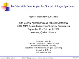 An Extensible Java Applet for Spatial Linkage Synthesis