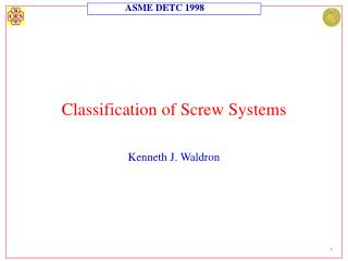 Classification of Screw Systems