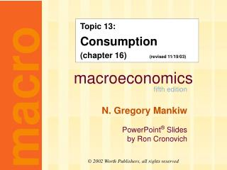 Topic 13: Consumption (chapter 16)           (revised 11/19/03)