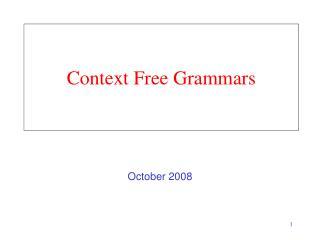Context Free Grammars