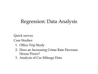 Regression: Data Analysis