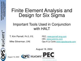 Finite Element Analysis and Design for Six Sigma