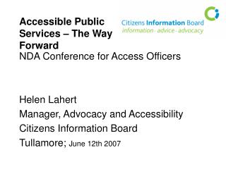 Accessible Public Services – The Way Forward