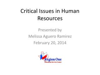 Critical Issues in Human Resources