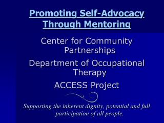 Promoting Self-Advocacy Through Mentoring