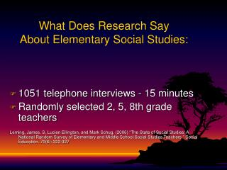 What Does Research Say  About Elementary Social Studies: