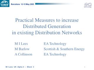 Practical Measures to increase  Distributed Generation  in existing Distribution Networks