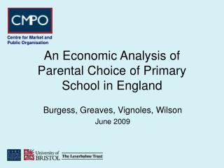 An Economic Analysis of Parental Choice of Primary School in England