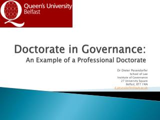 Doctorate in Governance:  An Example of a Professional Doctorate