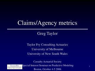 Claims/Agency metrics