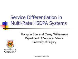 Service Differentiation in   Multi-Rate HSDPA Systems