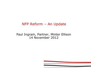 NFP Reform – An Update