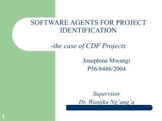 SOFTWARE AGENTS FOR PROJECT IDENTIFICATION - the case of CDF Projects