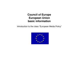 Council of Europe European Union  basic information
