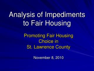Analysis of Impediments to Fair Housing