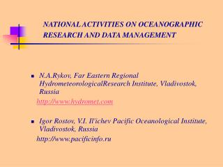 NATIONAL ACTIVITIES ON OCEANOGRAPHIC RESEARCH AND DATA MANAGEMENT