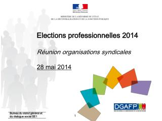 Elections professionnelles 2014 Réunion organisations syndicales 28 mai 2014