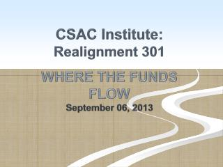 CSAC Institute:  Realignment 301 WHERE THE FUNDS  FLOW September 06, 2013