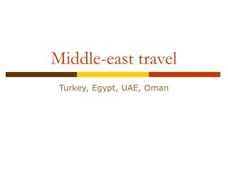 Middle-east travel