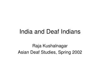 India and Deaf Indians