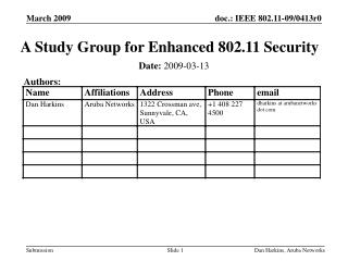 A Study Group for Enhanced 802.11 Security
