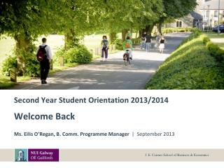 Second Year Student Orientation 2013/2014