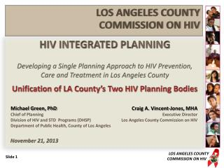 HIV INTEGRATED PLANNING Developing a Single Planning Approach to HIV Prevention,
