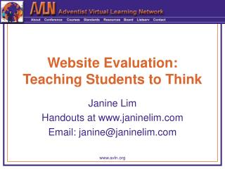 Website Evaluation: Teaching Students to Think