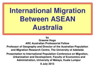 International Migration Between ASEAN Australia