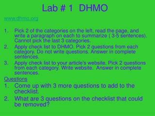 Lab # 1 DHMO