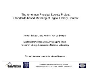 The American Physical Society Project:  Standards-based Mirroring of Digital Library Content