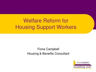 Welfare Reform for Housing Support Workers